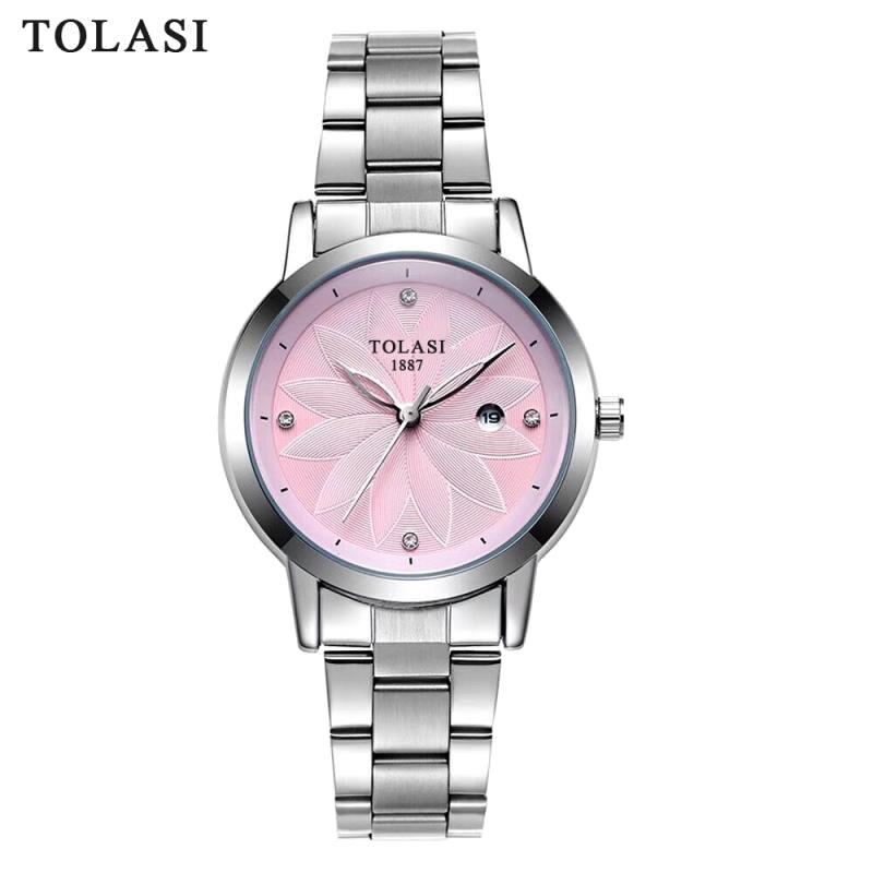 TOLASI Brand Fashion Quartz Women Watch Stainless Steel Clock Women's Watches Casual Date Relogio Feminino Female Wristwatches