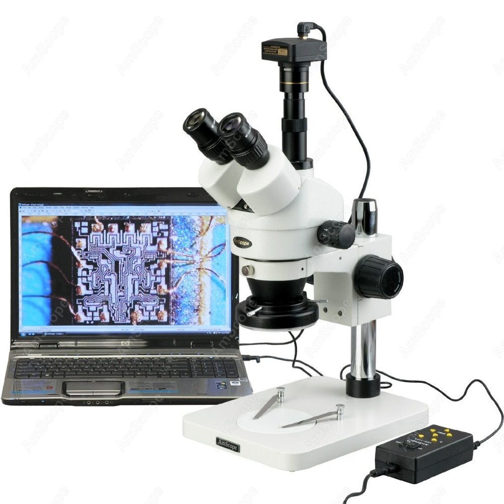 Microscope stéréo Zoom-AmScope fournit 3.5X-90X Microscope stéréo Zoom w 4 zones 144-lumière LED + 10MP appareil photo numérique USB