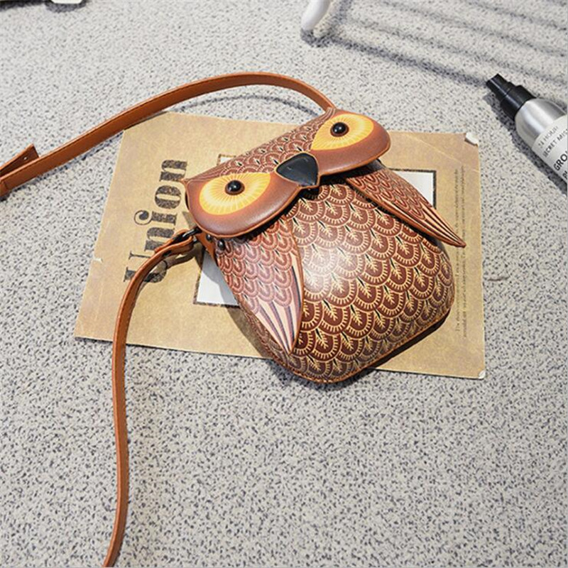 New Cute Owl Shape Shoulder Bag FOR Girls Cartoon With Crossbody Phone Bag Mini Messenger Bag Cartoon Leather Bags