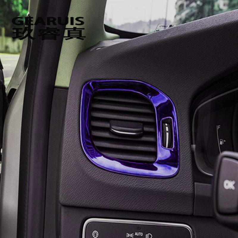 Car styling side air conditioning vent AC outlet decorative <font><b>frame</b></font> cover Sticker trim For <font><b>Volvo</b></font> V60 <font><b>S60</b></font> Interior auto Accessories image