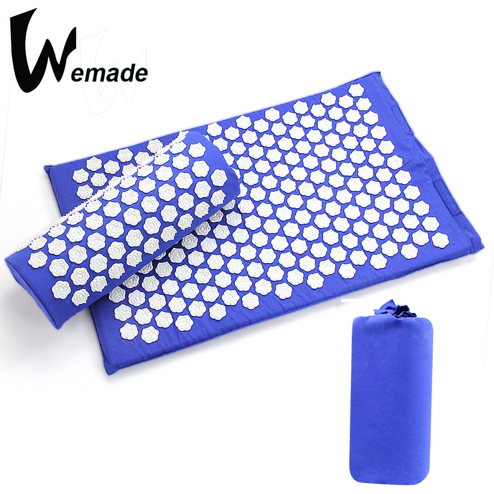 Acupressure Massage Mat and Pillow Set Relieve Stress Tension Pain Acupuncture Cushion with Carry Bag(Lotus shape)