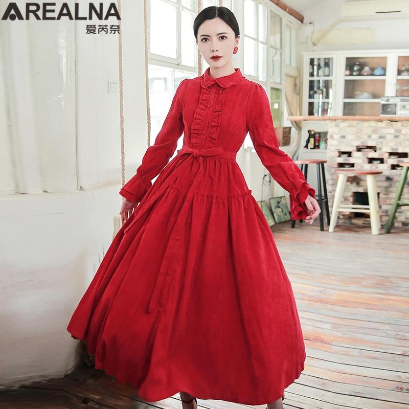 Vintage élégant rouge velours côtelé une ligne Maxi longue chemise Robe automne hiver femmes à volants col rétro médiéval grande balançoire Robe Robe