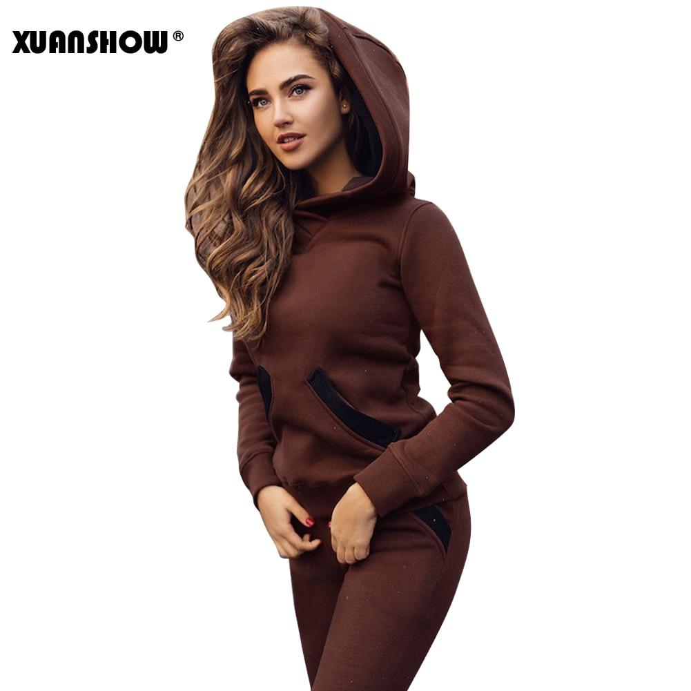 XUANSHOW 2019 Fashion Autumn Winter Tracksuit Women Hoodies Sweatshirts+ Long Pants Two Piece Set Outfits Knitted Chandal Mujer