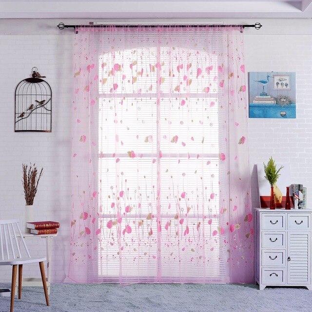Neues Einfaches Muster Fenster Screening Balkon Fertigen Produkt Burnout  Design Blume Tüll Vorhang Für Wohnzimmer