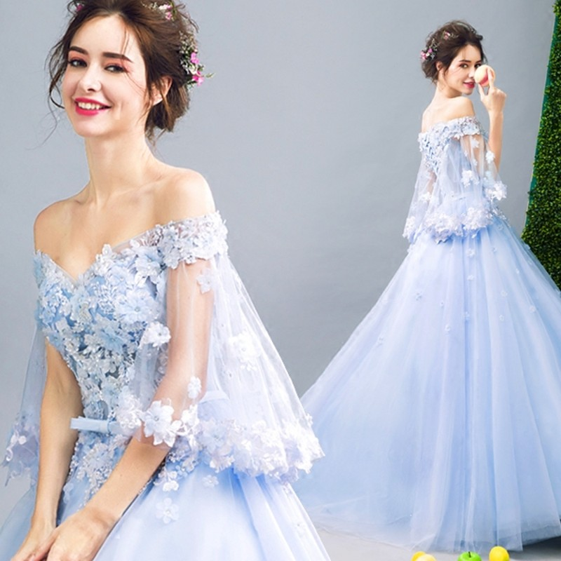 Blue Wedding Gowns 2014: Light Blue Wedding Dresses With Cape 3D Flower Floral