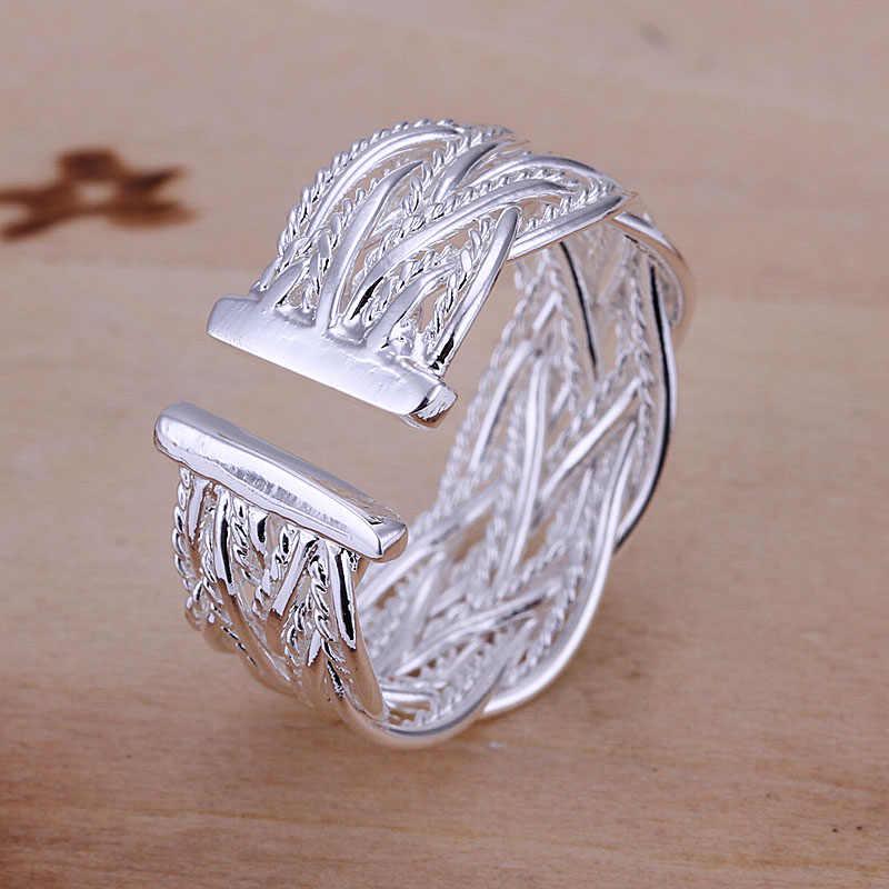 Kiteal ขายร้อนที่ดีที่สุดของขวัญ 925 ขายส่งเงินเครื่องประดับแหวนปรับ handmade สานเว็บสุทธิผู้หญิงผู้ชายแหวน