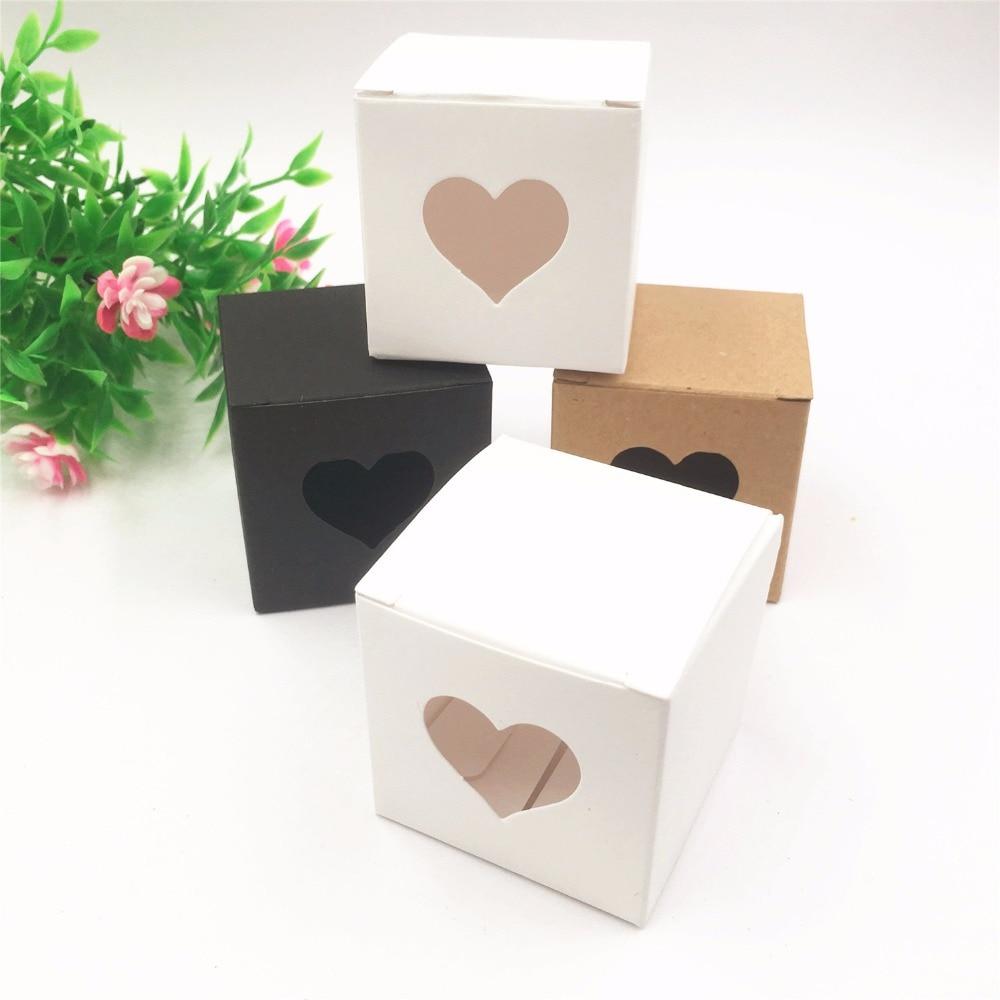 50pcs per lot Kraft white/black Heart Shaped Window cupcake boxes ...