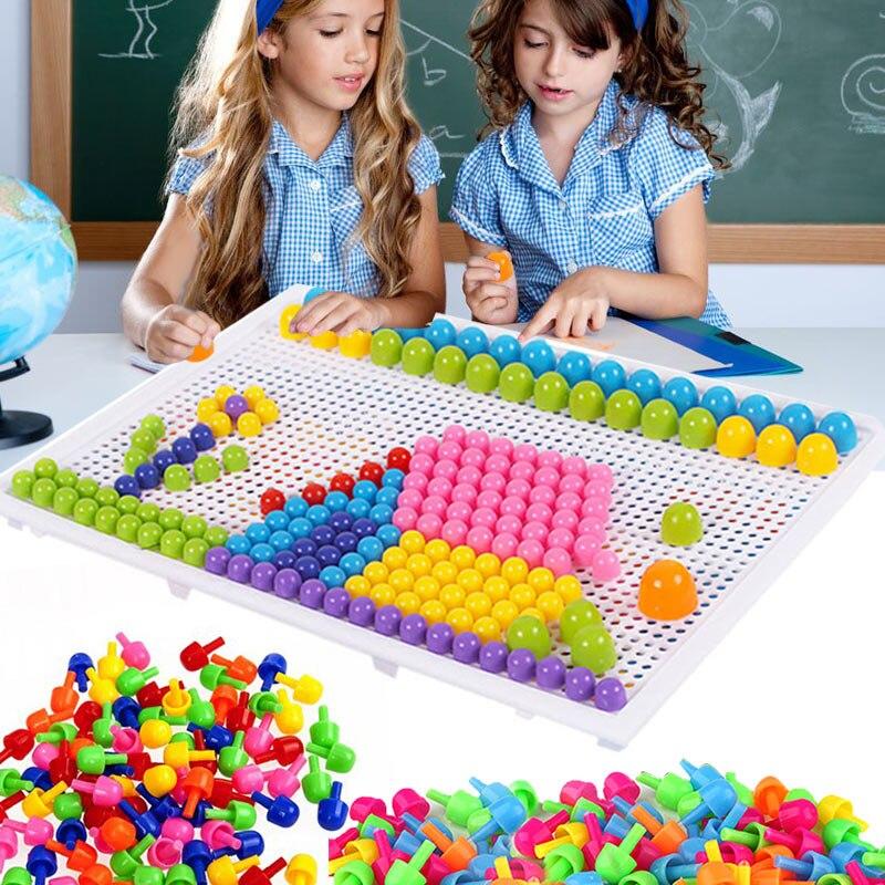 176 pçs placa de peg mosaico quebra-cabeça cogumelo unhas peg quebra-cabeças brinquedos educativos para crianças YH-17