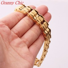 Granny Chic 9″ Fashion 15mm Wide Mens Boys Wristband Cuff Gold Color 316L Stainless Steel Bracelet & Bangle Jewelry Gift
