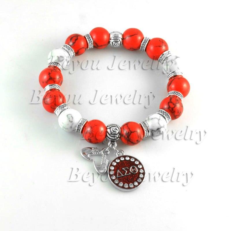 Diy delta sigma theta sorority stretch natural stone bead for Delta sigma theta jewelry