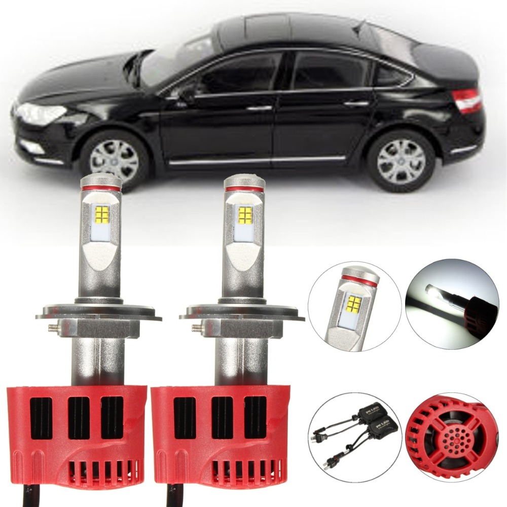 ФОТО Pair Auto Xenon White Light 6000K H4 LED Headlight Kit High brighter 90W 8500LM one set