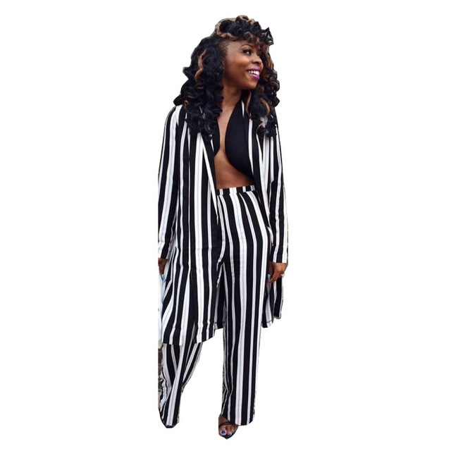 3023d6e61e6 new arrival Women Long Black And White Striped Jumpsuit Fashion Casual Long  Sleeve Wide Leg Jumpsuit Romper Coat Top playsuit