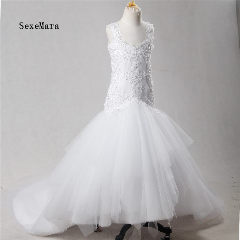 Real Pictures White First Communion Dresses Sexy Backless Mermaid Flower Girl Dresses With Long Train for Wedding Party pink lace applique sexy 2018 new mermaid long bridesmaid dresses maid of honor for wedding party with train plus size maxi 2 26w