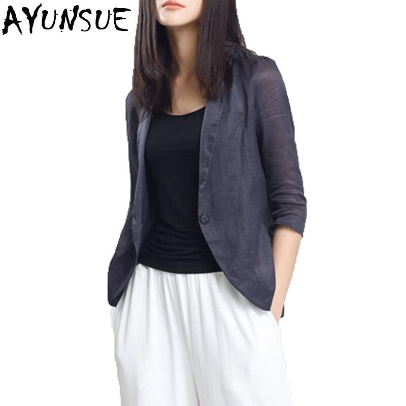 AYUNSUE جديد وصول 2018 ربيع الخريف المرأة السترة رقيقة عارضة مريح بدلة الإناث الكتان سترة أبلى LX1421-في السترات من ملابس نسائية على  مجموعة 1