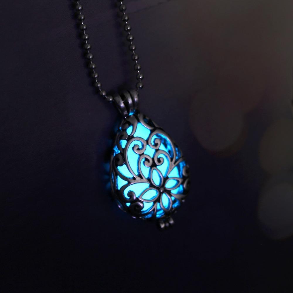 glowing little heart dark the itm necklace in jewelry chic teardrop glow pendant hot
