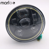 Marloo Harley Sportster 1200 XL1200L Custom XL1200C 883 XL883 883L XL883R 48 5.75 5 3/4 LED Motorcycle Headlight Daymaker 45W