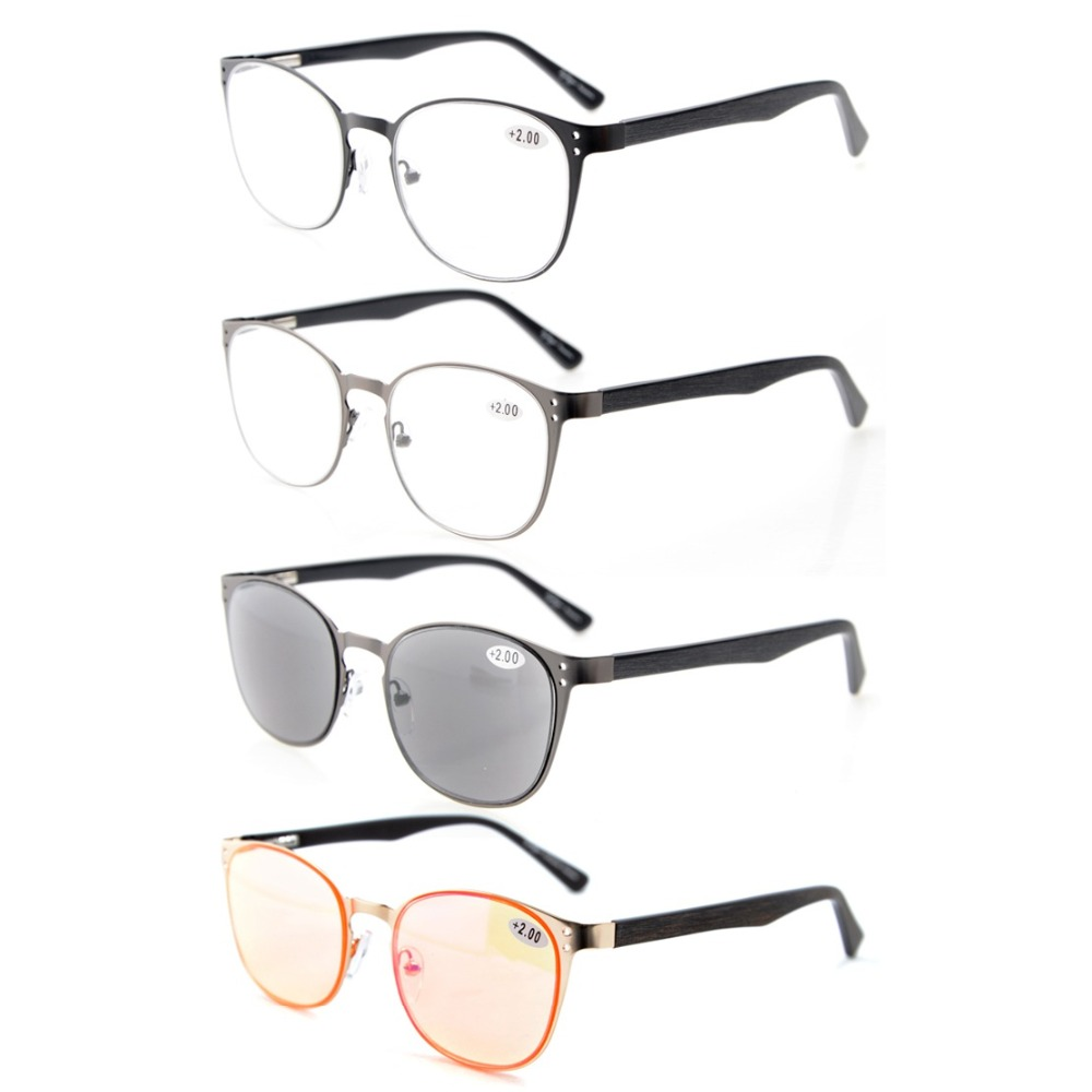 R15041 Mix 4-Pack Quality Spring Hings Acetate Temples Reading Glasses Include Computer Glasses Reading Sunglasses +0.50--+4.00
