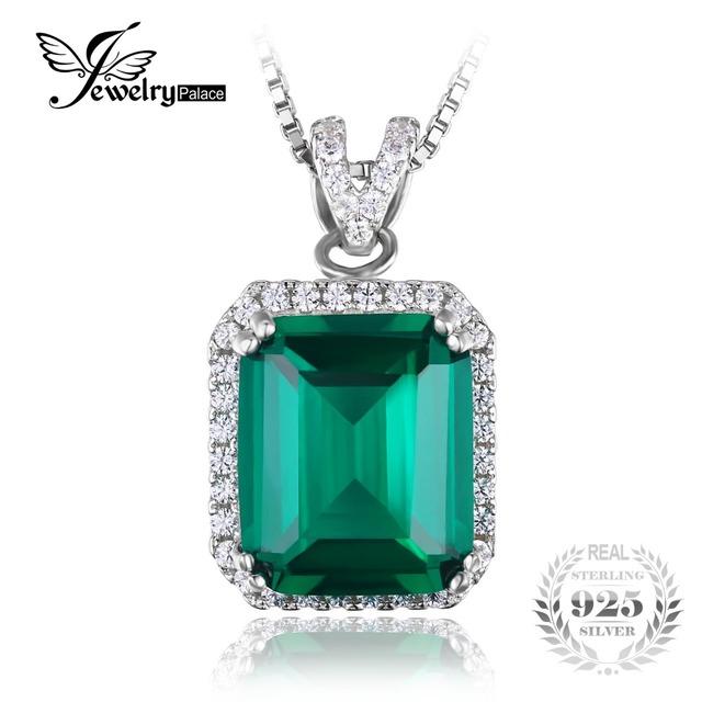 Jewelrypalace luxo 5.5ct esmeralda criado verde nano russa não inclui uma cadeia de halo pingente 925 prata esterlina