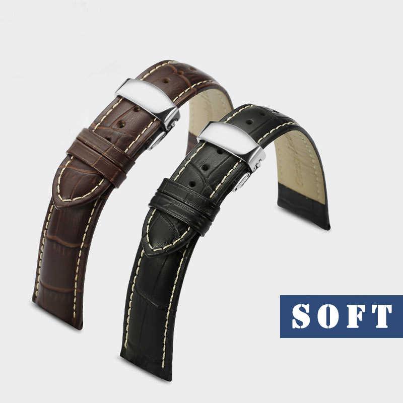 BOSCK noir marron véritable bracelet de montre remplacement luxe bracelet de montre 18 20 22 24mm en acier inoxydable boucle Relojes Hombre