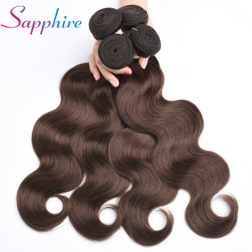 Sapphire 4 Bundles Deal Brazilian Body Wave Hair Extensions 8 to 28 Inch Non Remy Human Hair Brown Color 4# Free Shipping
