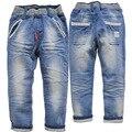 3568 3 anos Meninos primavera jeans reta calças elásticas crianças sólidos calça casual Crianças calças de brim infantis meninos calças de brim do bebê
