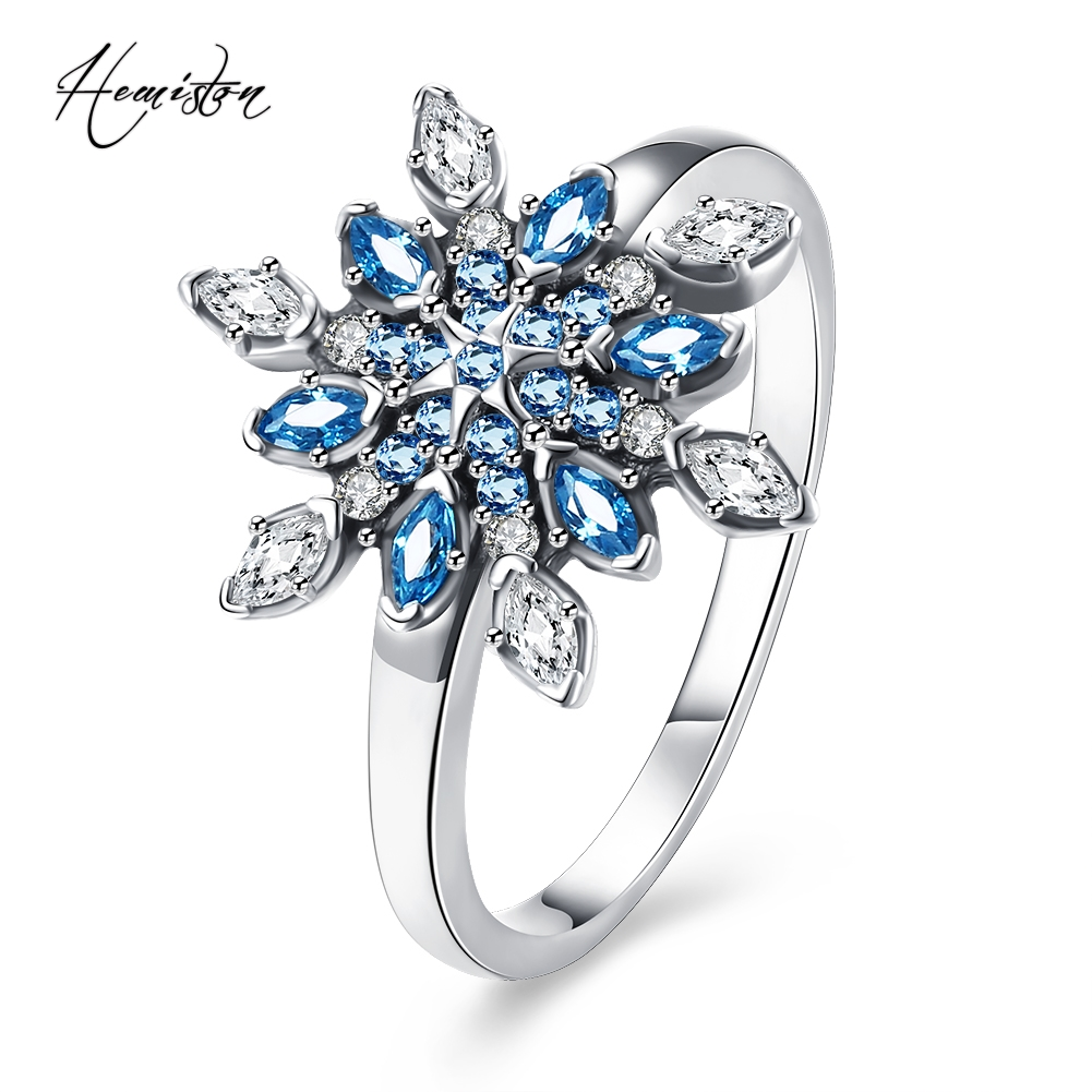 Hemiston Luxury Antique 100% 925 Sterling Silver Blue Snowflakes Rings Micro CZ Brand Rings for Women Wedding Jewelry PAR157
