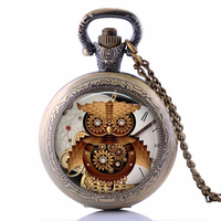 Steampunk Owl Necklace Steampunk Pendant Necklace Glass Cabochon Owl Necklace For Friend
