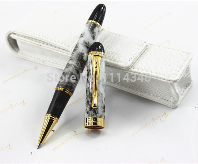 Jin Hao Luxury Black Marble Design Ballpoint Pen With Silver Clip Executive Office Stationery Writing Brand