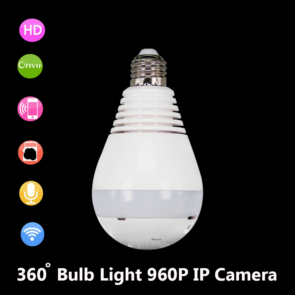 JIVISION Lamp Camera Bulb Light Wireless HD IP Camera Wifi Home Security Fisheye 360 Panoramic P2P Surveillance 960P Onvif cam цена