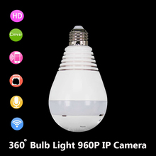 Onvif Bulb Light Wireless HD IP Camera Wifi Home Security Fisheye Panoramic P2P Two way Audio Surveillance Camera 960P V380