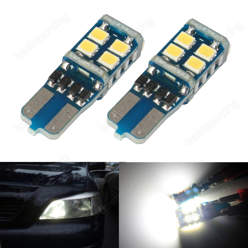 10pcs  White T10 W5W 168  194 Canbus 11 SMD 3528 LED Sidelight  Number Plate Indicator Parking Side Light(CA294)