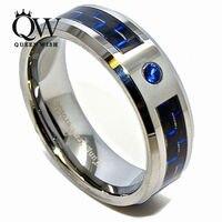 Queenwish 8mm Blauw Zirconia (CZ) Zwart & Blauw Carbon Wolfraamcarbide Wedding Band Anniversary Paar's Sieraden