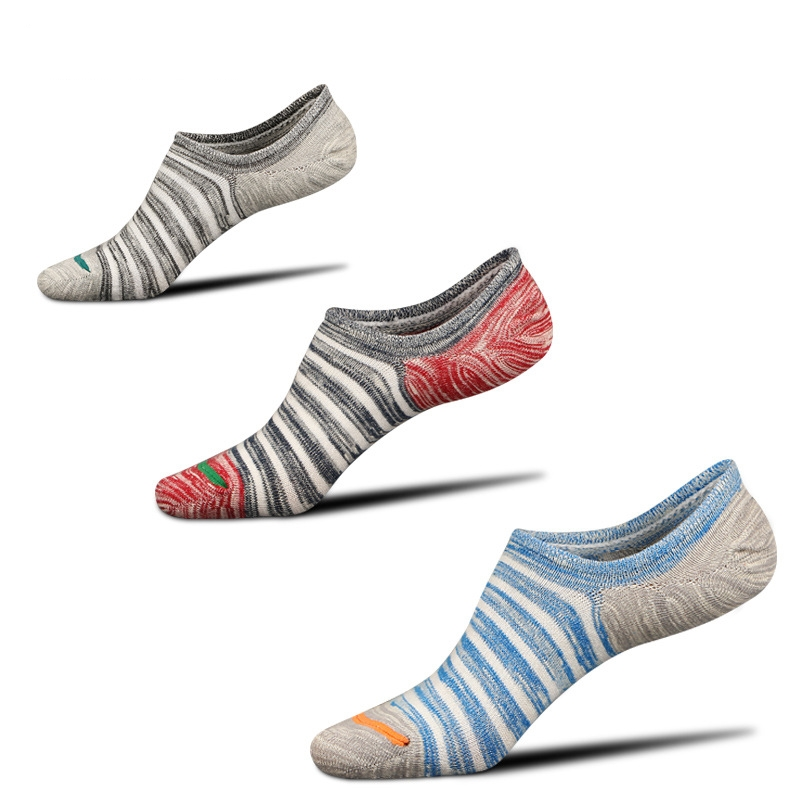 2018 Sock slippers men socks summer5 pairs thin invisible shallow mouth no show striped color socks male 100% cotton breathable