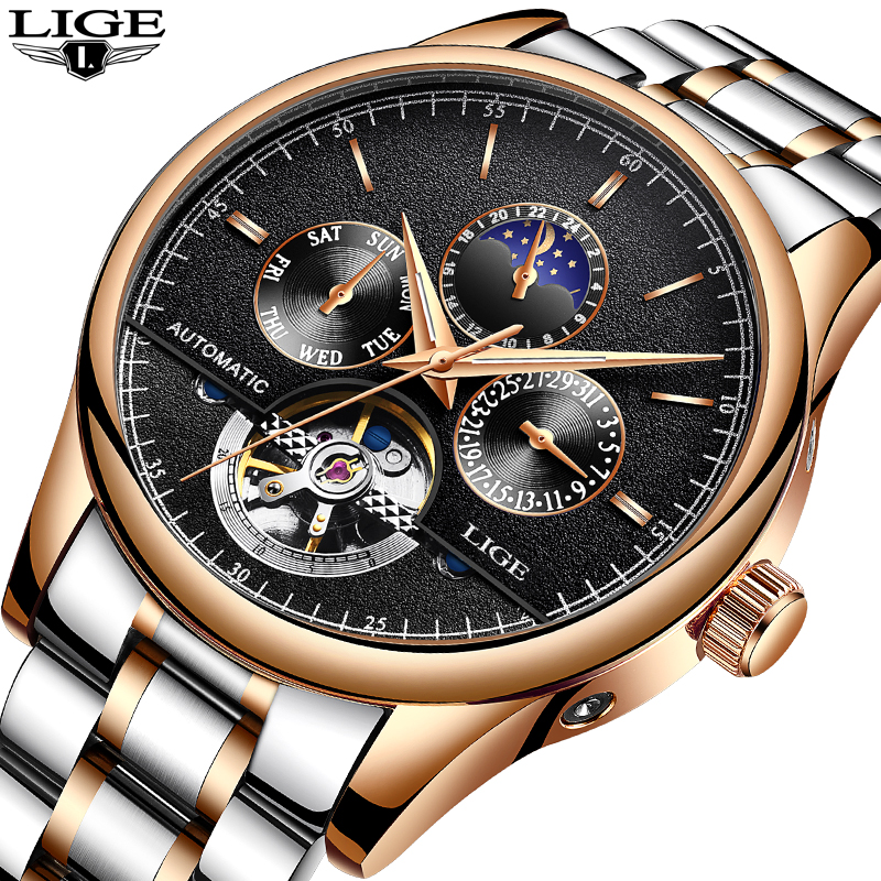 LIGE Hot Brand Watch Men's Top Luxury Automatic Mechanical Watch Stainless Steel Clock Business Watch Relogio Masculino + Box