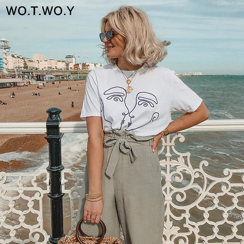 WOTWOY Abstract Couple Summer T Shirt Women 2018 Casual Print Tops Women Loose Short Sleeve Cotton Tshirt Female Harajuku White
