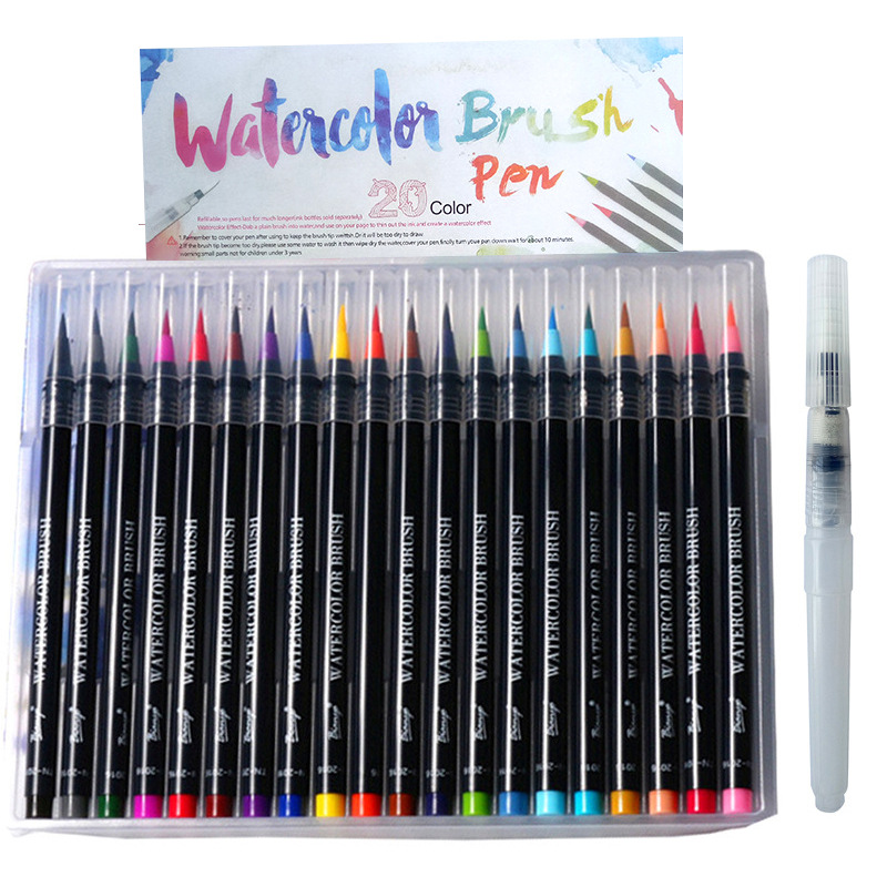 20 Colors Soft Fine Tip Watercolor Brush Pen Markers Pens Paintbrush for Sketch Drawing Manga Comic Handwriting new 12 18 24 colors watercolor brush pen water soluble colored pens markers for professional drawing for dessin manga waterbrush