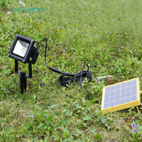 DVOLADOR Waterproof 10W Solar Powered LED Flood Light With 5M Wire 2200mA Use Battery Outdoor Wall