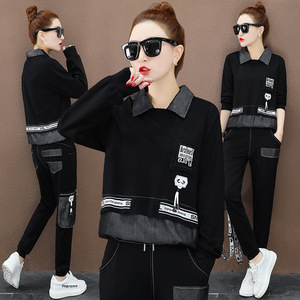 Image 2 - 最大ルル 2019 秋のファッション韓国風レディースフィットネストップスとパンツレディースデニムツーピースセットカジュアルトラックスーツクラブ衣装
