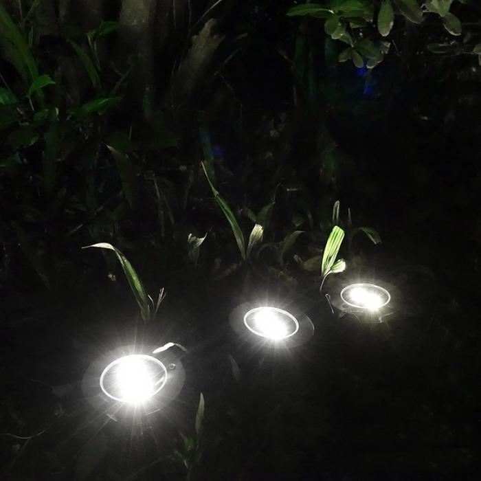 4 Pcs/set  LED Solar Power Buried Light 8 LEDs Ground Lamp Outdoor Path Way Garden Decor White Four 15