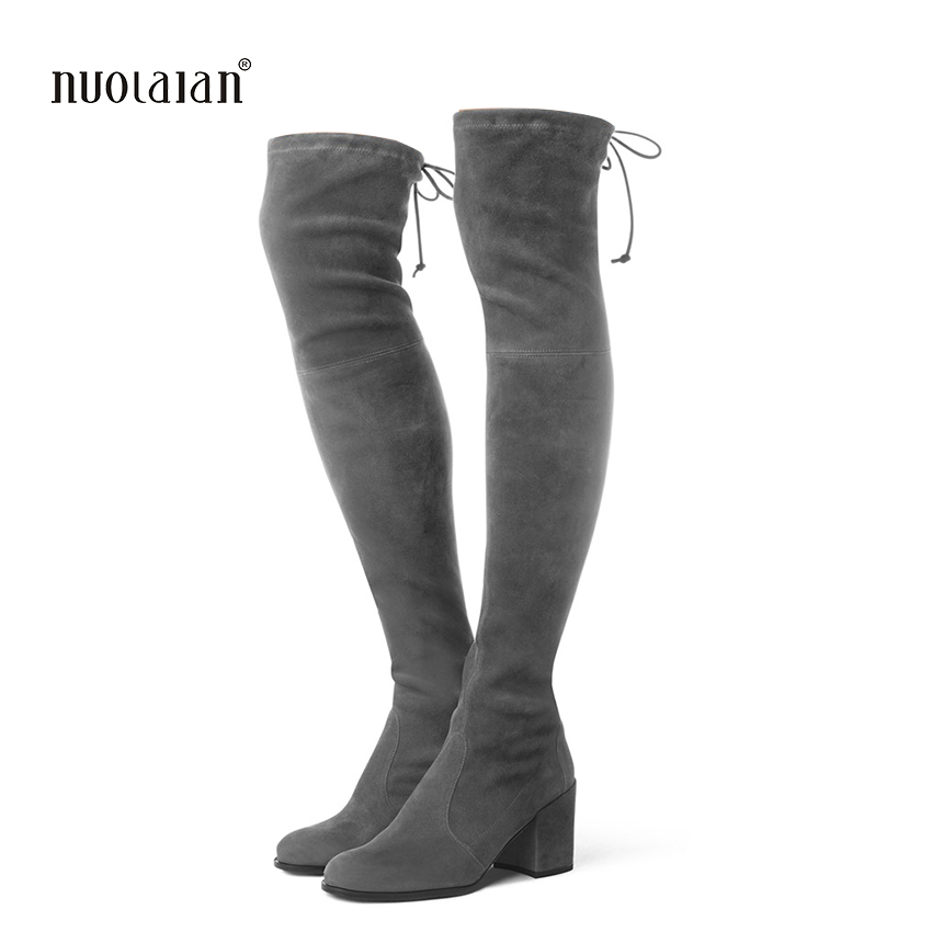 Women Over The Knee Boots Suede Thigh High Boots 2017 Autumn Winter Ladies Fashion Fur Warm high Heel Boots Snow Shoes Woman women over the knee boots black velvet long boots ladies high heel boots sexy winter shoes chunky heel thigh high boots