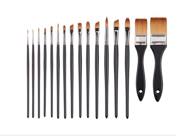 2284 Synthetic Hair Wooden Handle 16PC/set High Quality Acrylic And Oil Brush Set