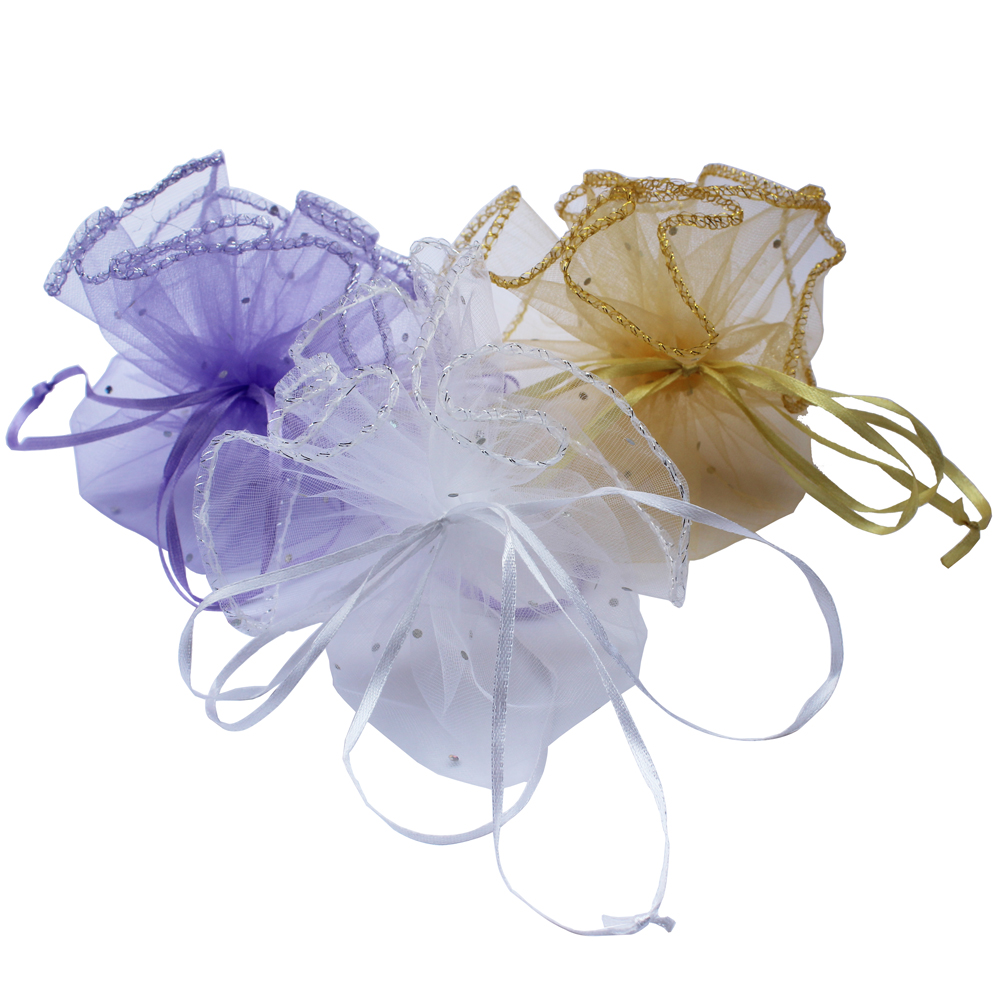 50 Pieces Round organza bag gift bag wedding and engagement pouch for sweat gift can mix color