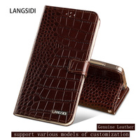 Genuine Leather Dual card bit flip case For Samsung C5 Crocodile texture magnetic buckle Silicone inner shell phone cover