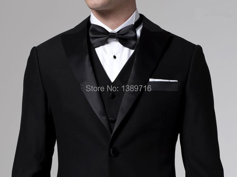 Deux New Smokings Costumes Satin 2016 groomsman Epoux Noir De Homme Boutons Mariage Custom Marié Revers Pic Design Meilleur v5IdqAdw