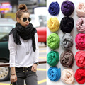 Women Ladies Girls Cotton Plain Solid Color Scarf Shawl Stole Wrinkles Scarves HATBD0079