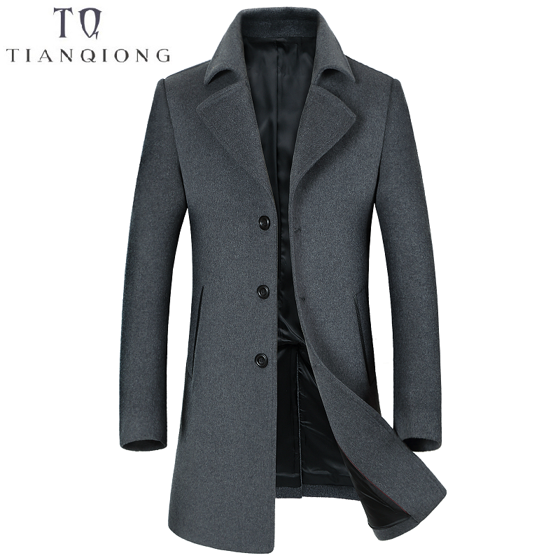 2018 New Mens Brand Clothing Autumn Winter Men's Long Slim Cashmere Coat Business Casual Classic Style Blue GARY Jacket Male