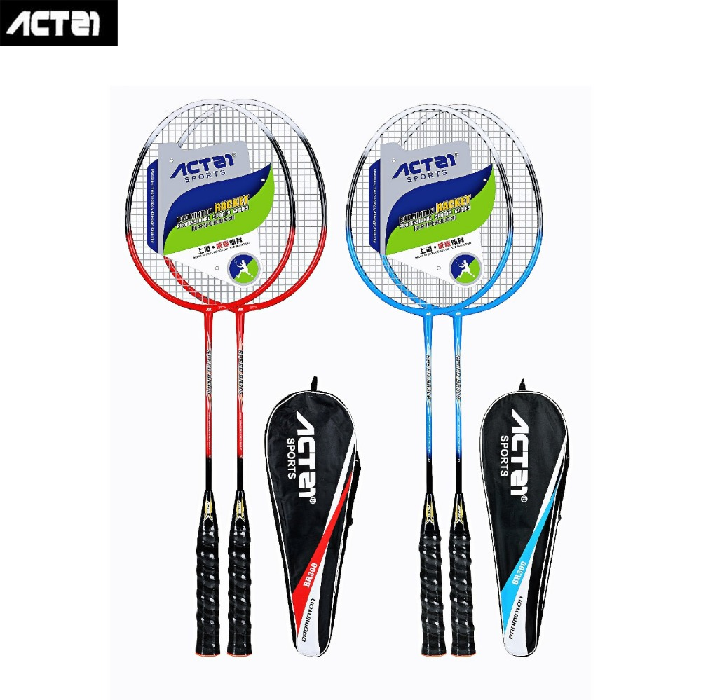 ACTEI BR300 Badminton Racket With Strings And Overgrip High Rebound Light Weight Adults Badminton Racquet 1 Pair With Bag