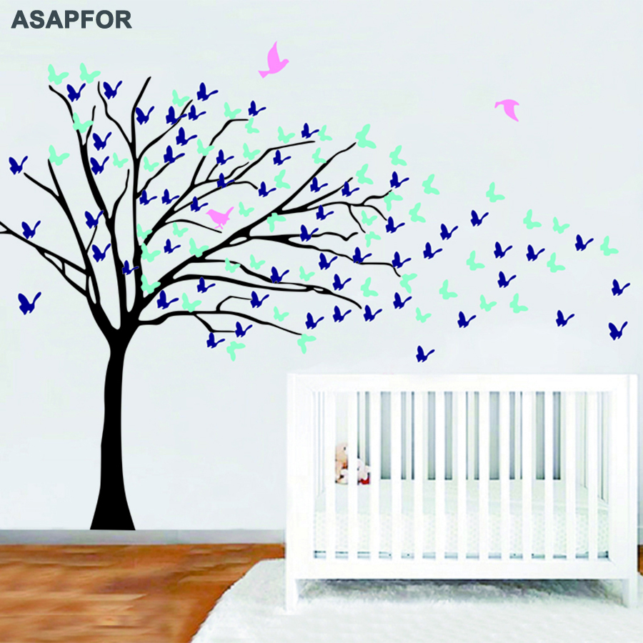 Huge White Tree and Birds Stickers Butterflies on the Wall Decals Decoration for Living Room Landscape Nursery Bedroom Wall Art - 3