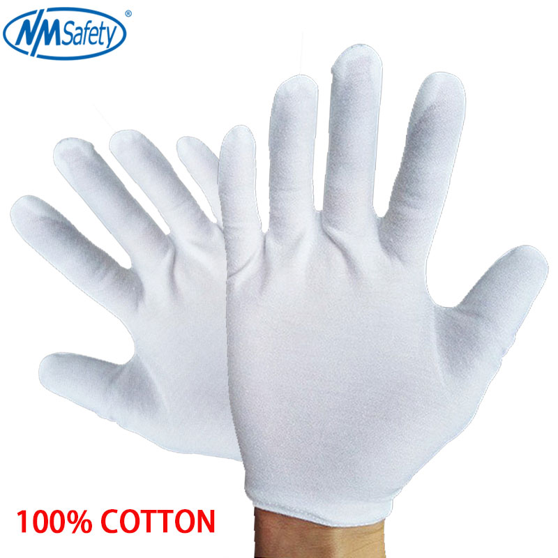 NMSafety 12 Pairs White Cotton Ceremonial Gloves For Male Female Serving / Waiters/Jewelry Gloves