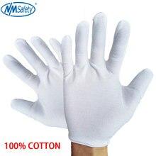 Белые хлопковые церемониальные перчатки NMSafety для мужчин, женщин, перчатки для сервировки/официантов/ювелирных изделий, 12 пар